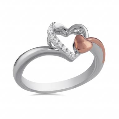 STERLING SILVER 10K ROSE GOLD .04CTW HEART RING