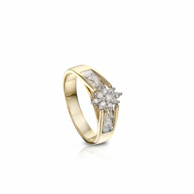 Trio Yellow Gold 0.18CTW Diamond Bridal Ring