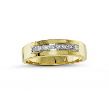 Trio Yellow Gold 0.08CTW Wedding Band