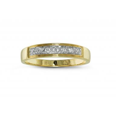 Trio Yellow Gold 0.07CTW Wedding Band