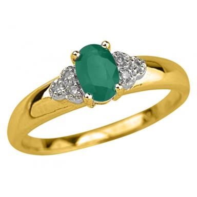 10K Yellow Gold Emerald 0.03CTW Diamond Ring