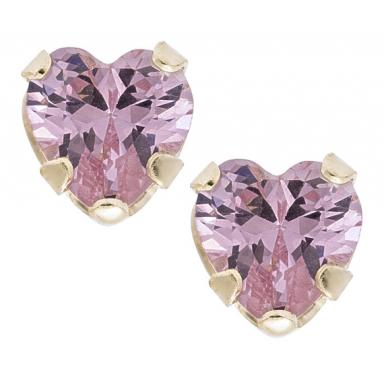 CHILDS 14 KARAT YELLOW GOLD WITH 10 KARAT 4MM PINK HEART CUBIC ZIRCONIA SAFETY BACK EARRINGS