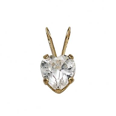 "10K Yellow Gold 13"" 5mm White Cubic Zirconia Heart"
