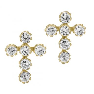 CHILDS 14 KARAT YELLOW GOLD WITH 10 KARAT CUBIC ZIRCONIA CROSS SAFTEY BACKEARRINGS