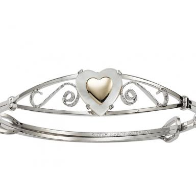 Children's Sterling Silver Mother of Pearl & 14K Heart Bangle