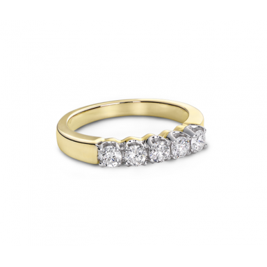 Windsor Five-Stone Yellow Gold 0.50CTW Diamond Anniversary Ring