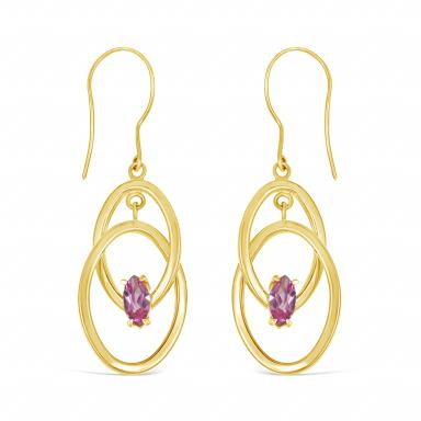 10K Yellow Gold Created Pink Sapphire Earrings