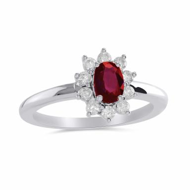 14K White Gold Ruby & Diamond Ring 0.31CTW