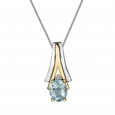 10K White & Yellow Gold Aquamarine & 0.008CTW Diamond Pendant with Chain