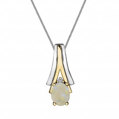 10K White & Yellow Gold Opal & 0.008CTW Diamond Pendant with Chain