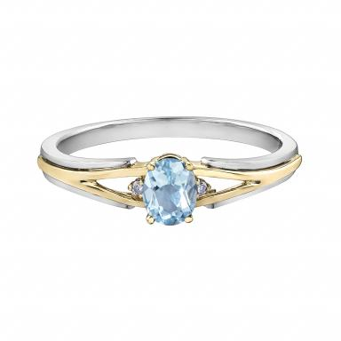 10K White & Yellow Gold Aquamarine & 0.015CTW Diamond Ring