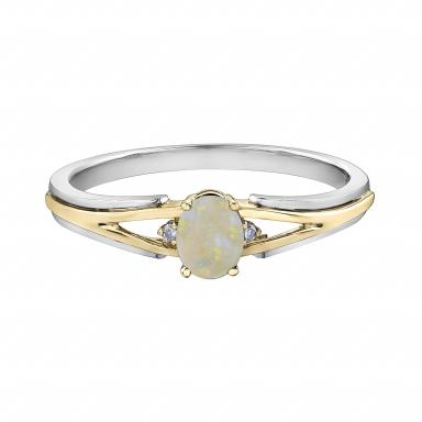 10K White & Yellow Gold Opal & 0.015CTW Diamond Ring