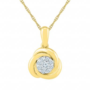 10K Yellow Gold Knot Pendant 0.15CTW