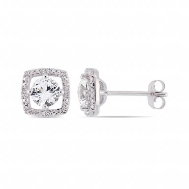 Julianna B 10K White Gold Diamond and Created White Sapphire Earrings