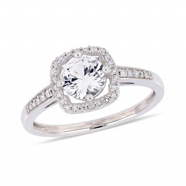 Julianna B 10K White Gold 0.14ctw Diamond & Created White Sapphire Fashion Ring