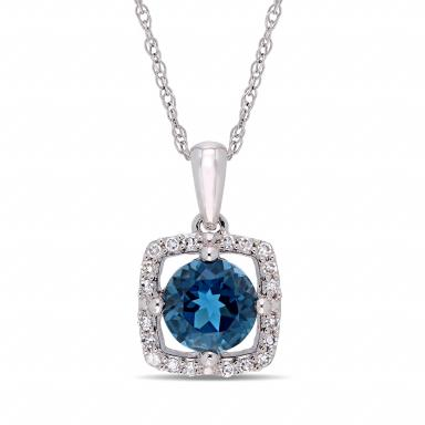 Julianna B 10K White Gold Diamond and Blue Topaz Fashion Pendant with Chain