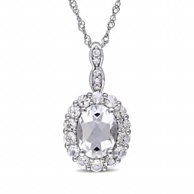 Julianna B 14K White Gold Diamond and White Topaz Pendant with Chain