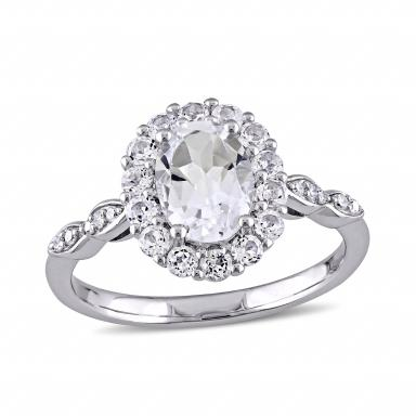 Julianna B 14K White Gold 0.05Ctw Diamond And White Topaz Ring