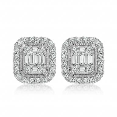 TIMES SQUARE 14K WHITE GOLD .40CTW EARRINGS