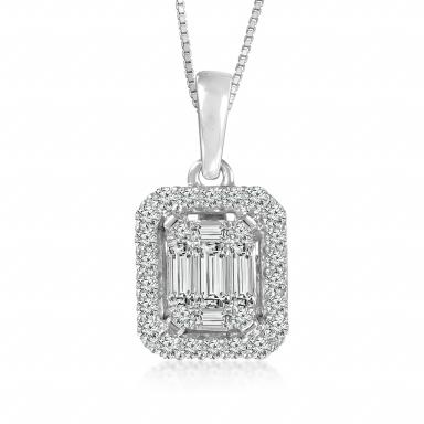 TIMES SQUARE 14K WHITE GOLD .25CTW DIAMOND PENDANT