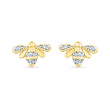 10K YELLOW GOLD DIAMOND BEE EARRINGS