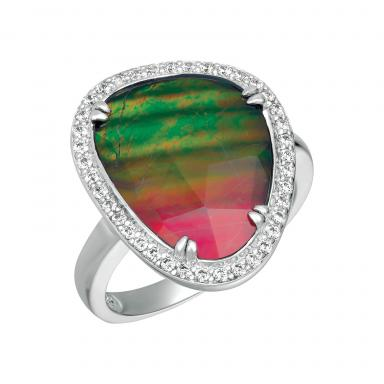 FREEDOM Sterling Silver Ammolite & Crystal Ring