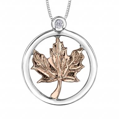 Glacier Fire Sterling Silver 10K Rose Gold Maple Leaf Pendant