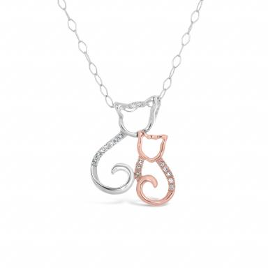 Sterling Silver Rose Gold Diamond Cat Pendant