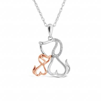 Sterling Silver 10K Rose Gold Diamond Dog Pendant