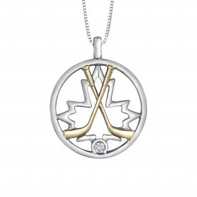 Glacier Fire Sterling Silver 10K Yellow Gold Diamond Hockey Pendant