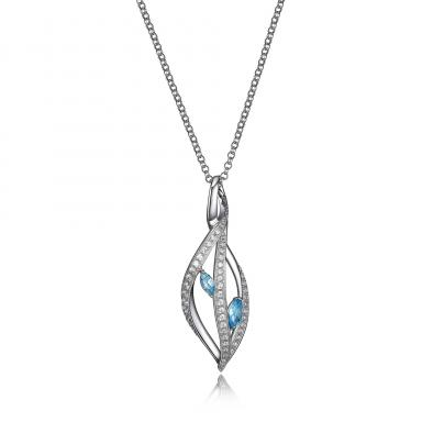 """Elle """"Moon Shadow"""" 18+2"""" Blue Topaz and Cubic Zirconia Necklace"""
