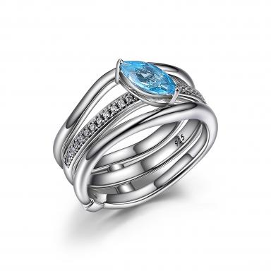 """Elle """"Moon Shadow"""" Blue Topaz and Cubic Zirconia Ring"""