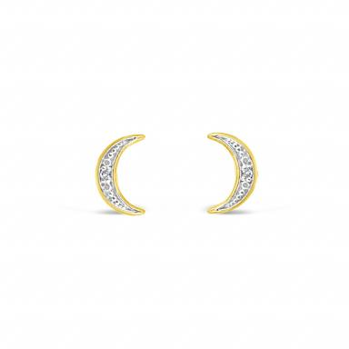 10K YELLOW GOLD DIAMOND MOON EARRINGS