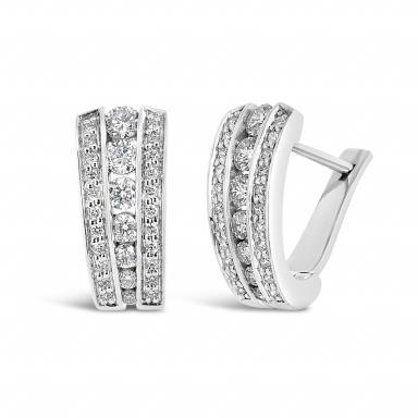 10K White Gold 1.00CTW Diamond Earrings