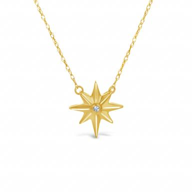 10K Yellow Gold Diamond Star Necklace