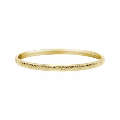 14K Yellow Gold Filled 5mm Floral Bangle