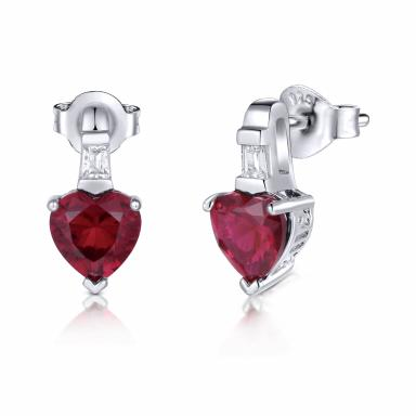 Sterling Silver Created Ruby & Created White Sapphire Earrings
