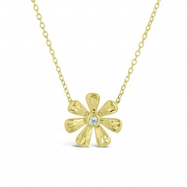 10K Yellow Gold Cubic Zirconia Flower Necklace