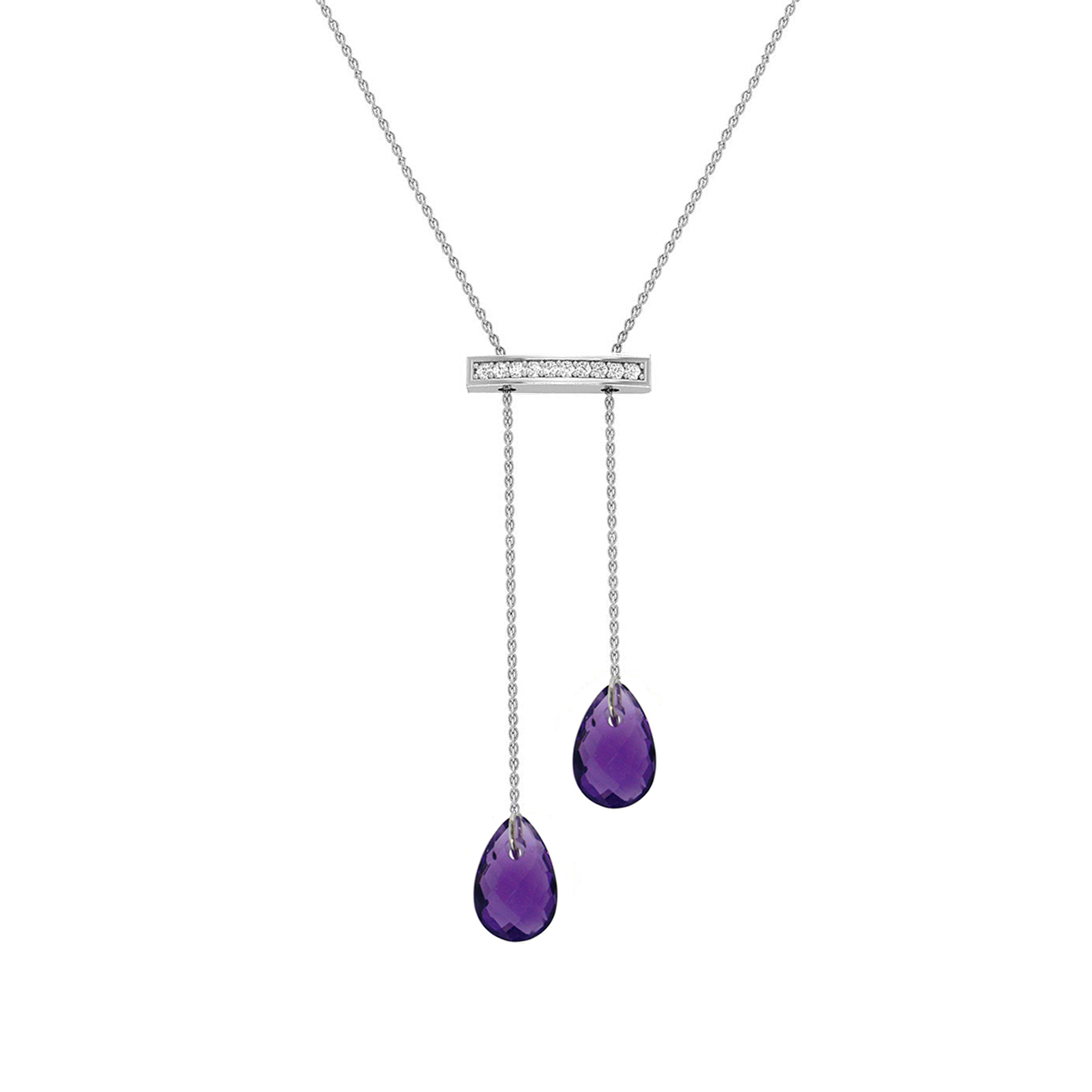 10K Amethyst and diamond pendant on gold filled wamethyst beaded chain