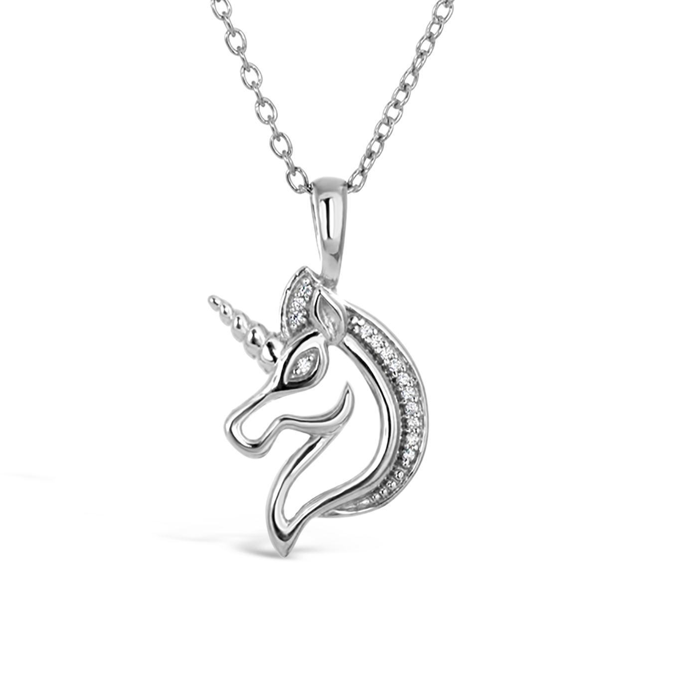Personalised Sterling Silver Unicorn Initial Necklace By